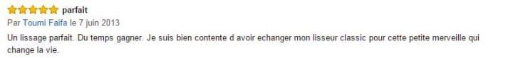 commentaire d'un utilisateur du lisseur K2