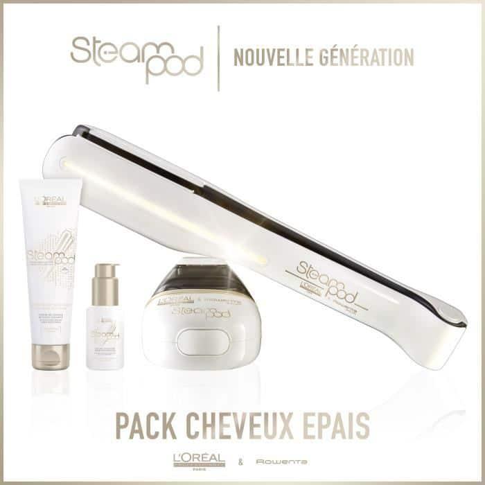 Presentation du pack cheveux épais du steampod 2.0