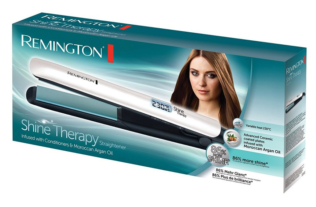 boite du lisseur remington shine therapy